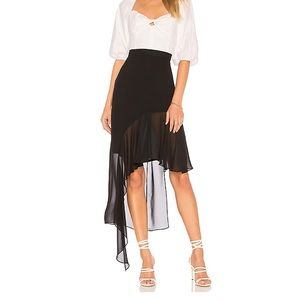 BCBGMaxazria Asymmetrical Ruffle Skirt in Black